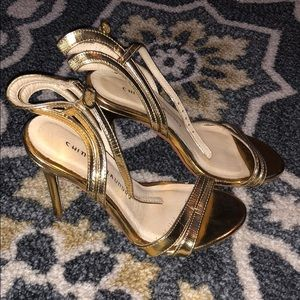 Size 6 Chinese Laundry Gold Strap Heels